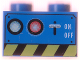 Part No: 3004px7  Name: Brick 1 x 2 with Switch, Lamps, and Danger Stripe Pattern
