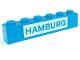Part No: 3009pb021  Name: Brick 1 x 6 with Blue in White 'HAMBURG' Pattern (Set 113)