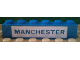 Part No: 3009pb037  Name: Brick 1 x 6 with Blue in White 'MANCHESTER' Pattern