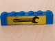 Part No: 3009pb064  Name: Brick 1 x 6 with Black Wrench on Yellow Background Pattern (Sticker) - Set 6363