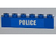 Part No: 3009pb164  Name: Brick 1 x 6 with White 'POLICE' Small Bold Narrow Font on Blue Pattern (Sticker) - Set 4441