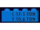 Part No: 3010pb011b  Name: Brick 1 x 4 with Black 'L 17.5 TON' and 'T 10.6 TON' Pattern
