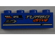 Part No: 3010pb151R  Name: Brick 1 x 4 with 'ONE', 'DISC breakers' and 'TURBO drive' Pattern Model Right (Sticker) - Set 8197