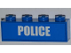 Part No: 3010pb157  Name: Brick 1 x 4 with White 'POLICE' Bold Narrow Font on Blue Background Pattern (Sticker) - Set 4441