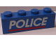 Part No: 3010pb174  Name: Brick 1 x 4 with White 'POLICE' Red Line on Blue Background Pattern (Sticker) - Set 3314
