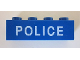 Part No: 3010pb182  Name: Brick 1 x 4 with White 'POLICE' Thin Font Pattern
