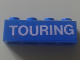 Part No: 3010pb196  Name: Brick 1 x 4 with White 'TOURING' Pattern (Sticker) - Set 1589-2