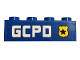 Part No: 3010pb275R  Name: Brick 1 x 4 with Yellow Badge with Black Star and 'GCPD' Pattern Model Right Side (Sticker) - Set 76120