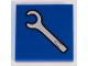 Part No: 3068bpb0199  Name: Tile 2 x 2 with Groove with White Spanner Wrench / Screwdriver Pattern