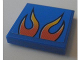 Part No: 3068bpb0671  Name: Tile 2 x 2 with Groove with Orange Flames on Blue Background Pattern (Sticker) - Set 8154