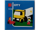 Part No: 3068bpb1220  Name: Tile 2 x 2 with Groove with Truck, Two Minifigures, Barrow, Red Square, 'CITY' and '5-12' Pattern (Sticker) - Set 60022