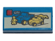 Part No: 3069bpb0387  Name: Tile 1 x 2 with Groove with Lego Dune Buggy Transporter and 'CITY' Set Box Pattern