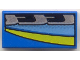 Part No: 3069bpx57  Name: Tile 1 x 2 with Groove with Blue, Black, Silver, and Yellow Stripes Left Pattern