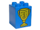 Part No: 31110pb005  Name: Duplo, Brick 2 x 2 x 2 with Trophy Cup Number 1 in Shield Pattern