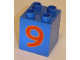 Part No: 31110pb029  Name: Duplo, Brick 2 x 2 x 2 with Number 9 Red Pattern