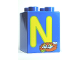 Part No: 31110pb056  Name: Duplo, Brick 2 x 2 x 2 with Letter N and Nest Pattern