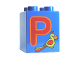 Part No: 31110pb058  Name: Duplo, Brick 2 x 2 x 2 with Letter P and Parrot Pattern