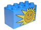 Part No: 31111pb001  Name: Duplo, Brick 2 x 4 x 2 with Sun Pattern