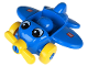 Part No: 31639c01pb01  Name: Primo Vehicle Airplane - Yellow Propeller and Wheels, with Eyes and Wings Logo Pattern