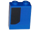 Part No: 3245cpb039L  Name: Brick 1 x 2 x 2 with Inside Stud Holder with Curved Thick Black Stripe on Blue Background Pattern Model Left Side (Sticker) - Set 75875