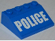 Part No: 3297pb027  Name: Slope 33 3 x 4 with White 'POLICE' Bold Narrow Font on Blue Background Pattern (Sticker) - Set 4205