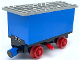 Part No: 3443c03  Name: Train Battery Box Car with Three Contact Holes, Red Switch Lever, Blue and Red Magnets, Red Wheels, and Light Gray Roof