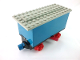Part No: 3443c06  Name: Train Battery Box Car with Two Contact Holes, Red Switch Lever, Blue and Red Magnets, Red Wheels, and Light Gray Roof