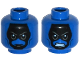 Part No: 3626cpb1162  Name: Minifigure, Head Dual Sided Alien Black Face, Gray Eyebrows, Angry, Mouth Closed / Bared Teeth Pattern - Hollow Stud