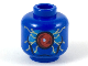 Part No: 3626cpb2219  Name: Minifigure, Head Alien with Large Red Eye in Dark Azure Panel, Gold Circuitry Pattern - Hollow Stud
