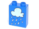 Part No: 4066pb043  Name: Duplo, Brick 1 x 2 x 2 with Rain Cloud Pattern