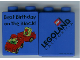 Part No: 4066pb220  Name: Duplo, Brick 1 x 2 x 2 with Best Birthday On The Block! and Duplo Vehicle Pattern