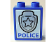Part No: 4066pb281  Name: Duplo, Brick 1 x 2 x 2 with Star Badge Silver and 'POLICE' on Bottom Pattern