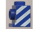 Part No: 4070pb02  Name: Brick, Modified 1 x 1 with Headlight with White Diagonal Stripes Pattern Left (Sticker) - Set 6653