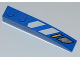 Part No: 42022pb19R  Name: Slope, Curved 6 x 1 with Blue and White Danger Stripes and Headlights Pattern Model Right (Sticker) - Sets 7970