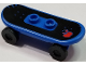 Part No: 42511c01pb26  Name: Minifigure, Utensil Skateboard with Trolley Wheel Holders with Red Apple, Blue Outline Pattern (Sticker) and Black Trolley Wheels (42511pb26 / 2496)