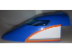 Part No: 54092c02pb02  Name: Aircraft Fuselage Curved Forward 8 x 16 x 5 with Trans-Light Blue Glass with Orange, Light Bluish Gray, White Pattern on Both Sides (Stickers) - Set 60104
