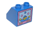 Part No: 6474pb05  Name: Duplo, Brick 2 x 2 Slope 45 with Television Clown Pattern on Vertical Side