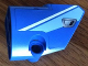 Part No: 87086pb019  Name: Technic, Panel Fairing # 2 Small Smooth Short, Side B with Medium Blue and White Stripes and Silver Door Handle Pattern (Sticker) - Set 8052