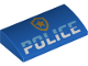 Part No: 88930pb116  Name: Slope, Curved 2 x 4 x 2/3 with Bottom Tubes with 'POLICE' and Gold Badge Logo Pattern