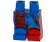 Part No: 970d29pb01  Name: Minifigure, Legs with Hips - 1 Red Left Leg, 1 Blue Right Leg with Blue and Red Quarters and Dark Bluish Gray Straps Pattern