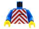 Part No: 973p19c01  Name: Torso Train Red Chevron Pattern / Blue Arms / Yellow Hands