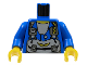 Part No: 973pb0044c01  Name: Torso Rock Raiders Gray Straps and Pack Pattern (Jet) / Blue Arms / Yellow Hands