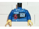 Part No: 973pb0096c01  Name: Torso Race Driver with Team, 5 and Oil Pattern / Blue Arms / Yellow Hands