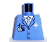 Part No: 973pb0098  Name: Torso Airplane Crew Male, Light Blue Tie, Red Pen, Silver Logo, 3 Buttons Pattern