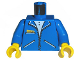 Part No: 973pb0100c01  Name: Torso Zipper Jacket and 3 Pockets Pattern / Blue Arms / Yellow Hands
