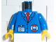 Part No: 973pb0265c01  Name: Torso Rescue Coast Guard Logo, Name Tag, Blue Collar, Red Tie Pattern / Blue Arms / Yellow Hands