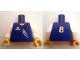 Part No: 973pb0447c01  Name: Torso Soccer Adidas Logo Blue No. 8 Pattern (Stickers) / White Arms / Yellow Hands