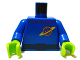 Part No: 973pb0628c01  Name: Torso Space Ringed Planet and Black Belt Pattern / Blue Arms / Lime Hands