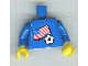 Part No: 973pb0818c02  Name: Torso Soccer Blue/White Team, American Flag Sticker Front, Black Number Sticker Back (specify number in listing) / Blue Arms / Yellow Hands
