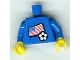 Part No: 973pb0919c01  Name: Torso Soccer Women's Team, American Flag Sticker Front, White Number Red Outlined Sticker Back (specify number in listing) / Blue Arms / Yellow Hands